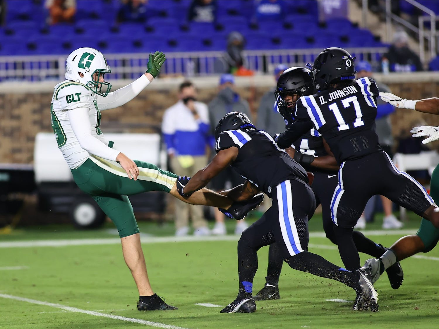 Two blocked punts, both by freshman safety Isaiah Fisher-Smith, was just one of the many unusual aspects of Saturday's contest.