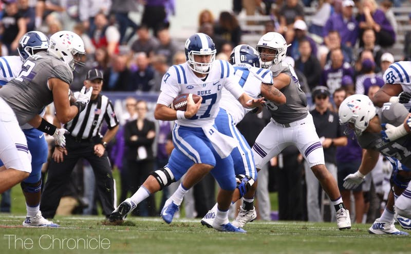 Daniel Jones led the Blue Devils downfield for a touchdown on their first possession Saturday.
