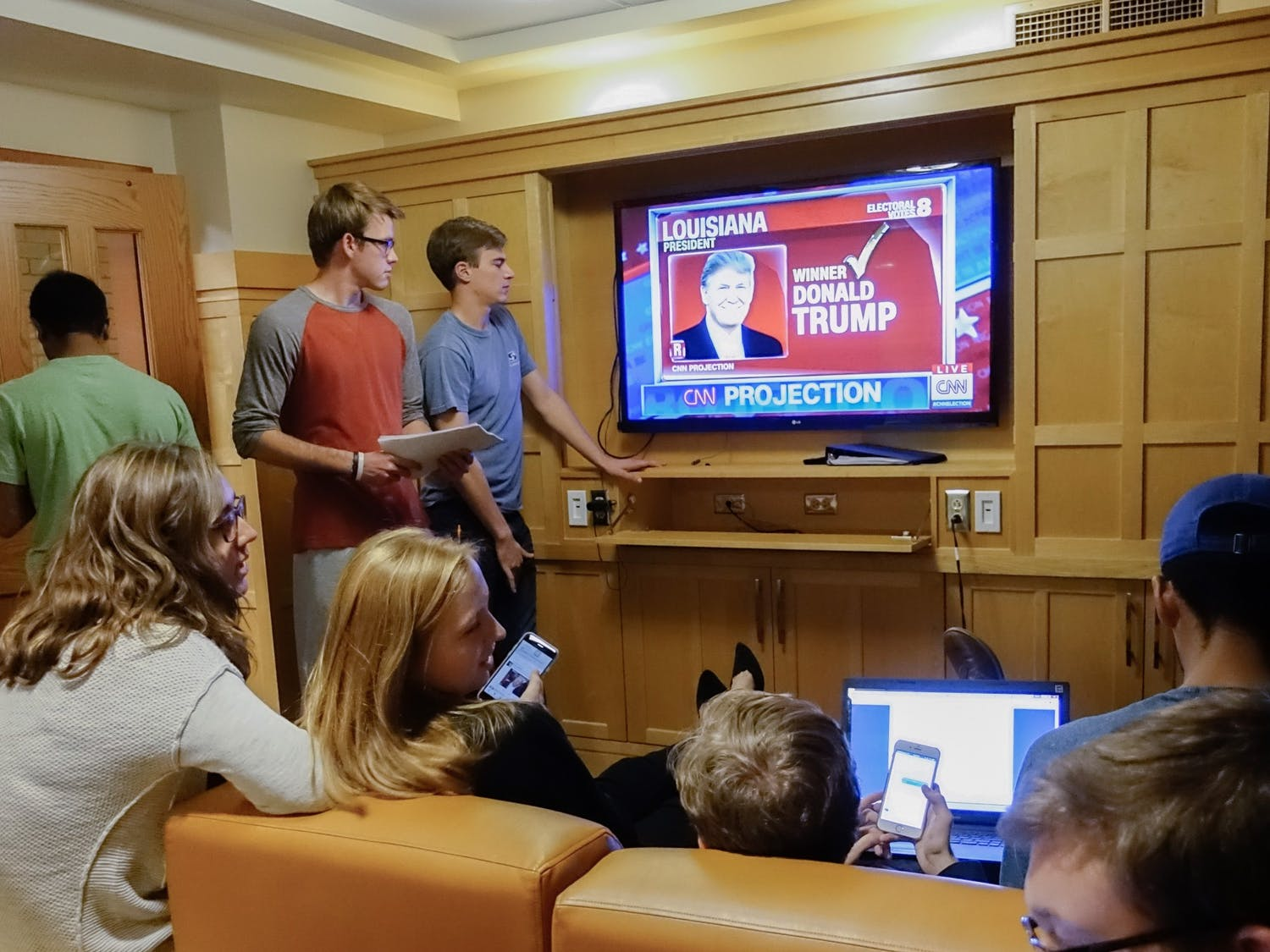 In 2016, students gathered in common rooms to watch coverage of Election Night.