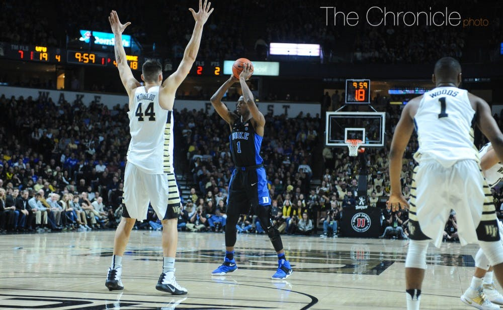 <p>Duke ended its slide down the conference standings with a dramatic comeback win at Wake Forest Saturday.</p>