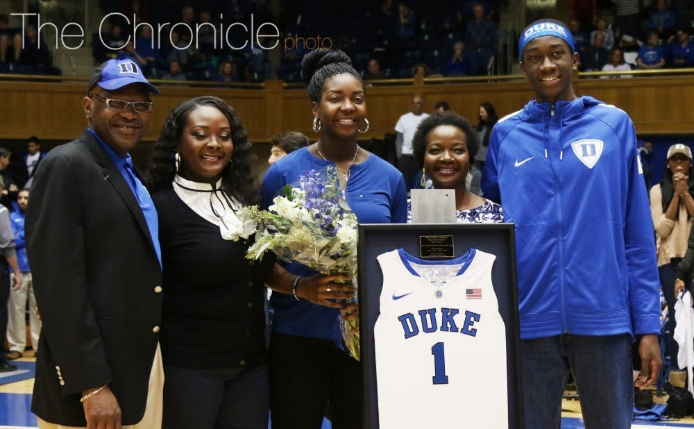 Mark Williams (far right) hopes to join his sister in Duke basketball lore.