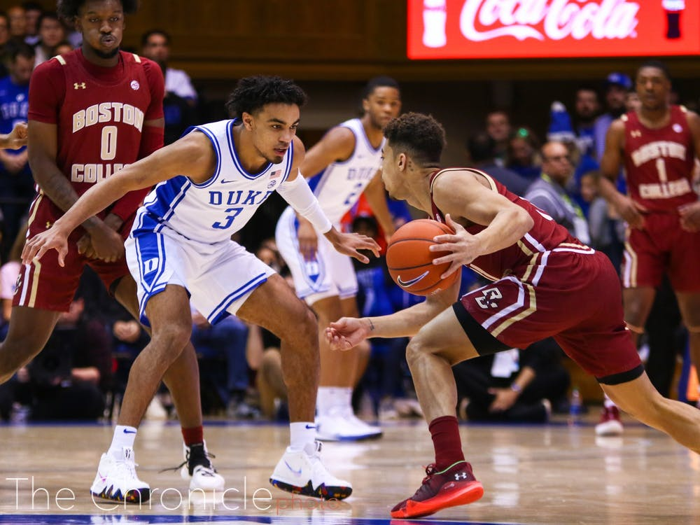 <p>Tre Jones came back from injury against the Eagles, and distributed the ball well with 10 assists.</p>