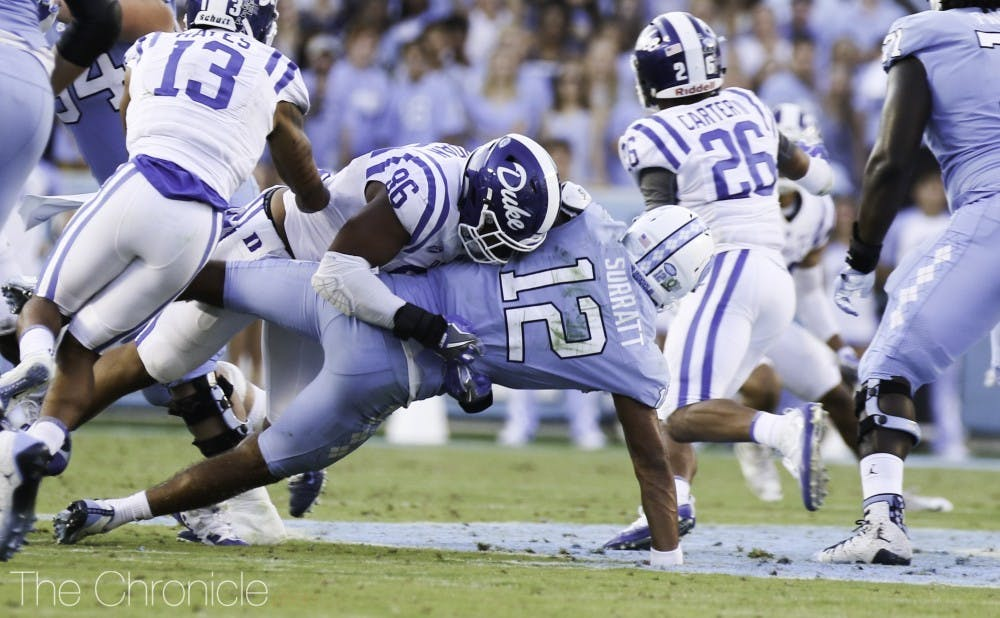 <p>Drew Jordan and the defensive line will need to force Sam Howell to get rid of the ball quickly.</p>