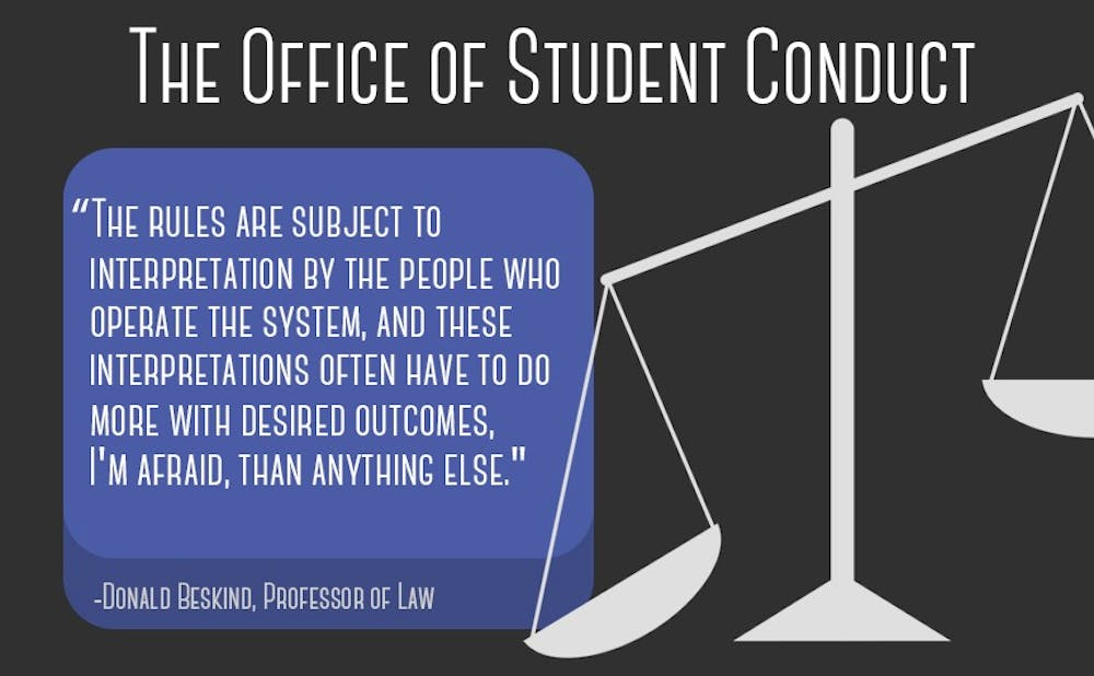 """<p>Four students discussed their issues with the Office of Student Conduct, from inadequate investigations into their cases to&nbsp;a """"guilty until proven innocent"""" mindset of the undergraduate conduct&nbsp;boards.</p>"""