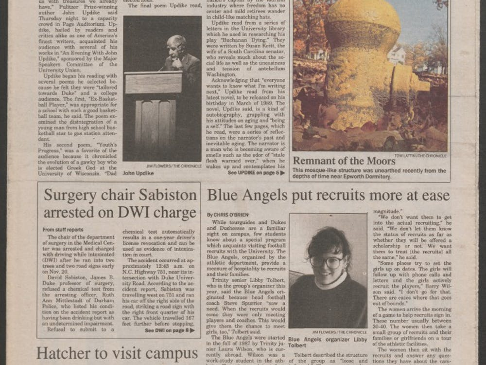 The Chronicle covered Duke's now-defunct Blue Angels program for football recruits in 1988.