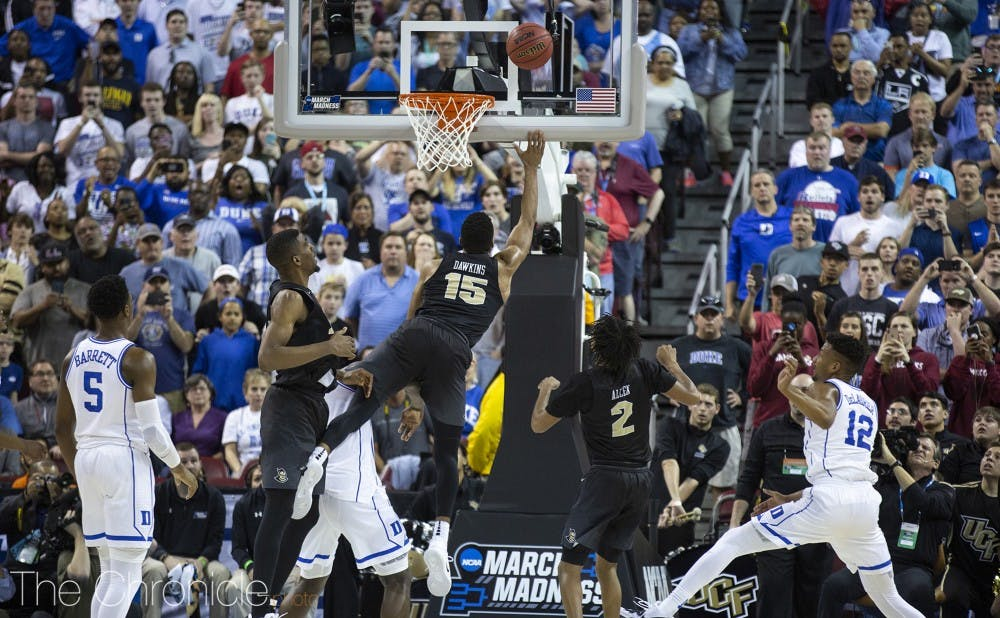 <p>Central Florida's Aubrey Dawkins crashed the offensive glass and had an uncontested tip-in attempt in the final seconds, but the shot rolled off the rim to send Duke into the Sweet 16.</p>