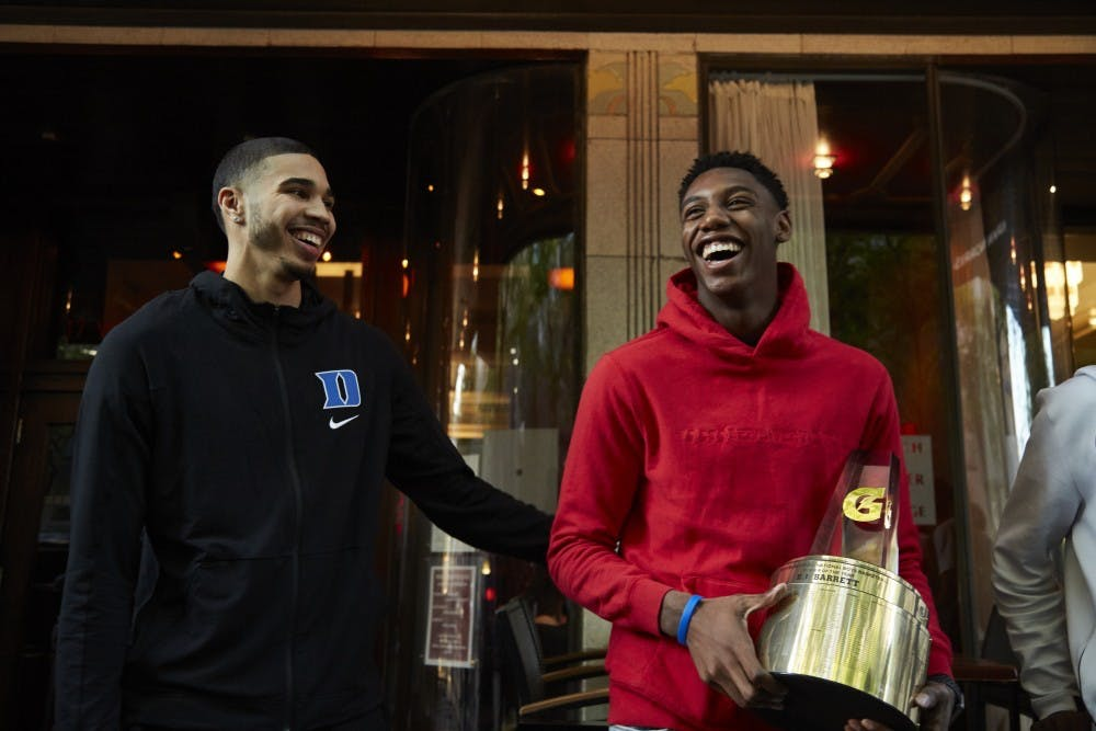 <p>Jayson Tatum and R.J. Barrett have each been a part of stellar recent recruiting classes.</p>