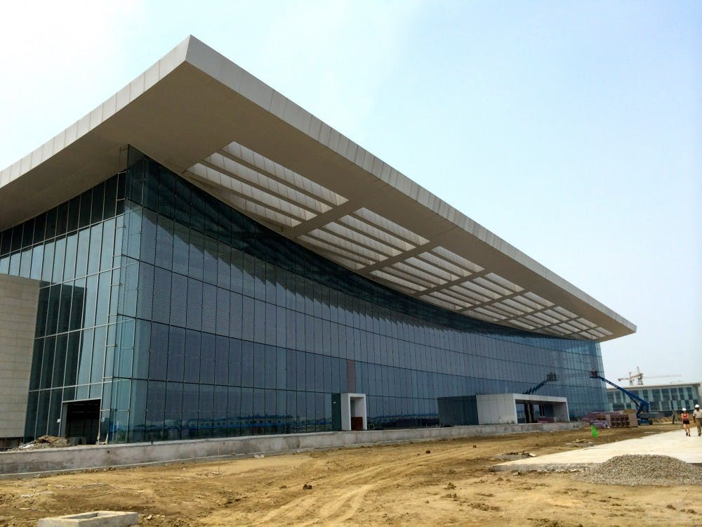 When Duke Kunshan University opens in August 2014, just one of its six buildings will be accessible. Its main academic building (pictured) is slated to be completed in October.