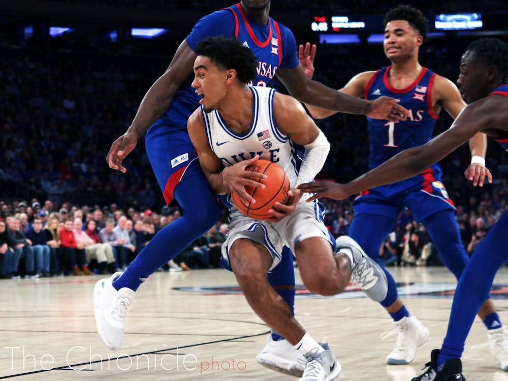 <p>Tre Jones was a key contributor for the Blue Devil offense in the first half.</p>