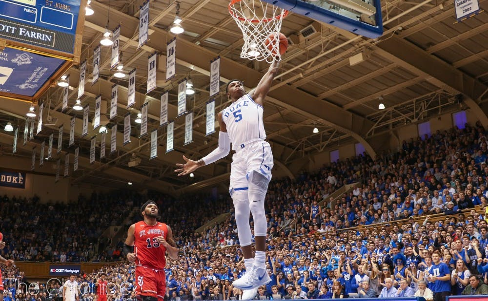 <p>R.J. Barrett was lights-out from deep in the first half.</p>