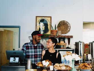 Founders Wael Suliman and Morgan Siegel at Jeddah's Tea, located in downtown Durham.