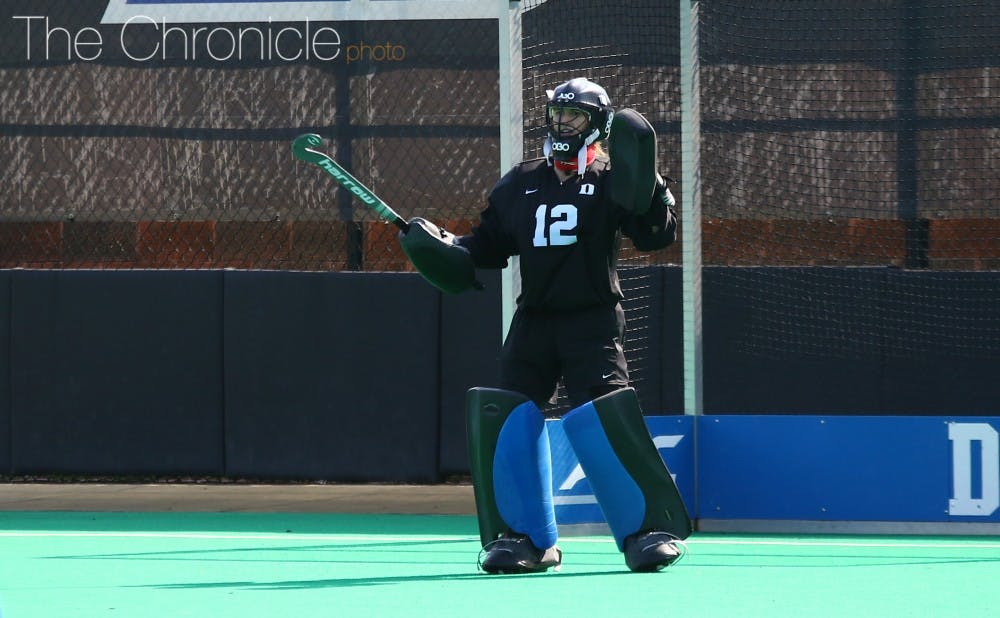 <p>Senior goalie Lauren Blazing will have to come up big against Liberty and its third-ranked scoring offense Saturday in the Blue Devils' regular-season finale. </p>