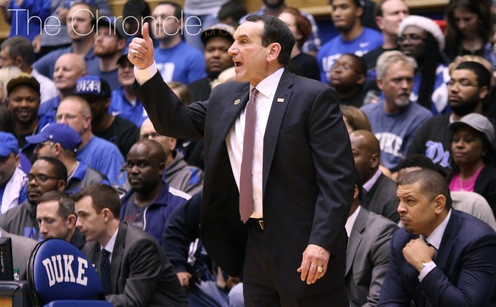 <p>Coach K was irate at the end of the first half due to a chant from the Cameron Crazies.</p>