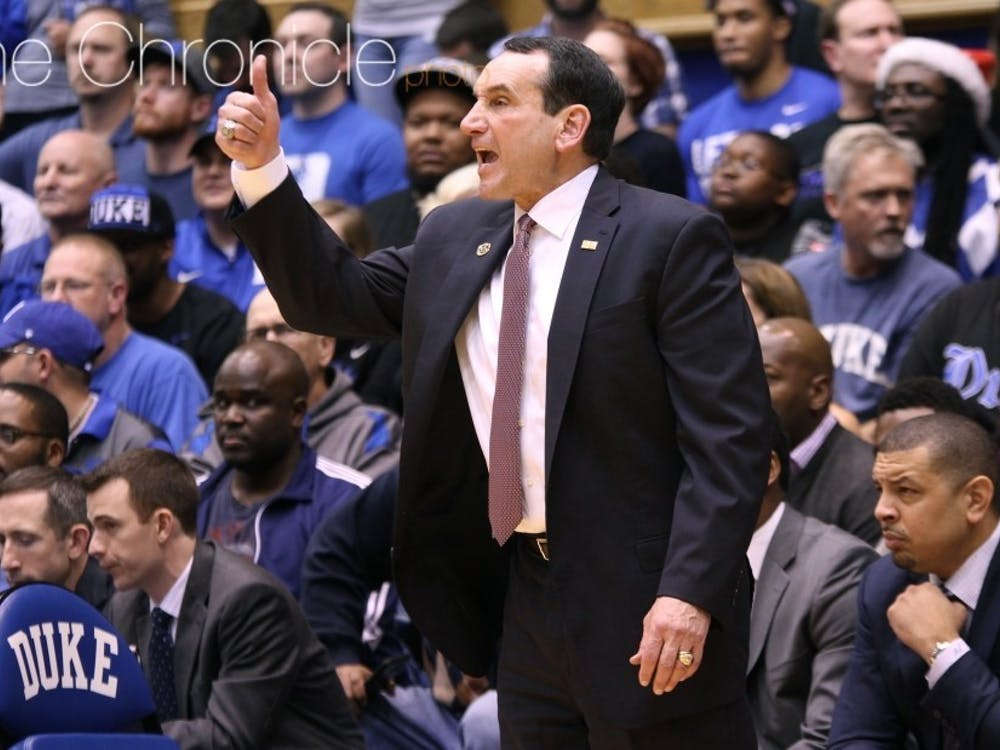 Coach K was irate at the end of the first half due to a chant from the Cameron Crazies.