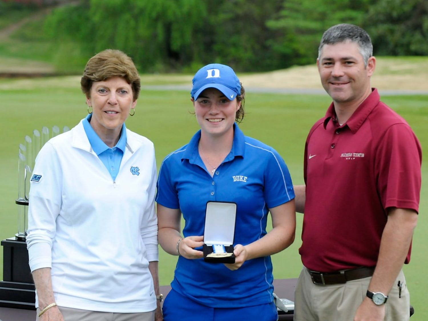 Duke's Leona Maguire is awarded first place at the 2015 ACC Women's Golf Championship in Greensboro, N.C., April. 18, 2015. (Photo by Sara D. Davis, theACC.com)