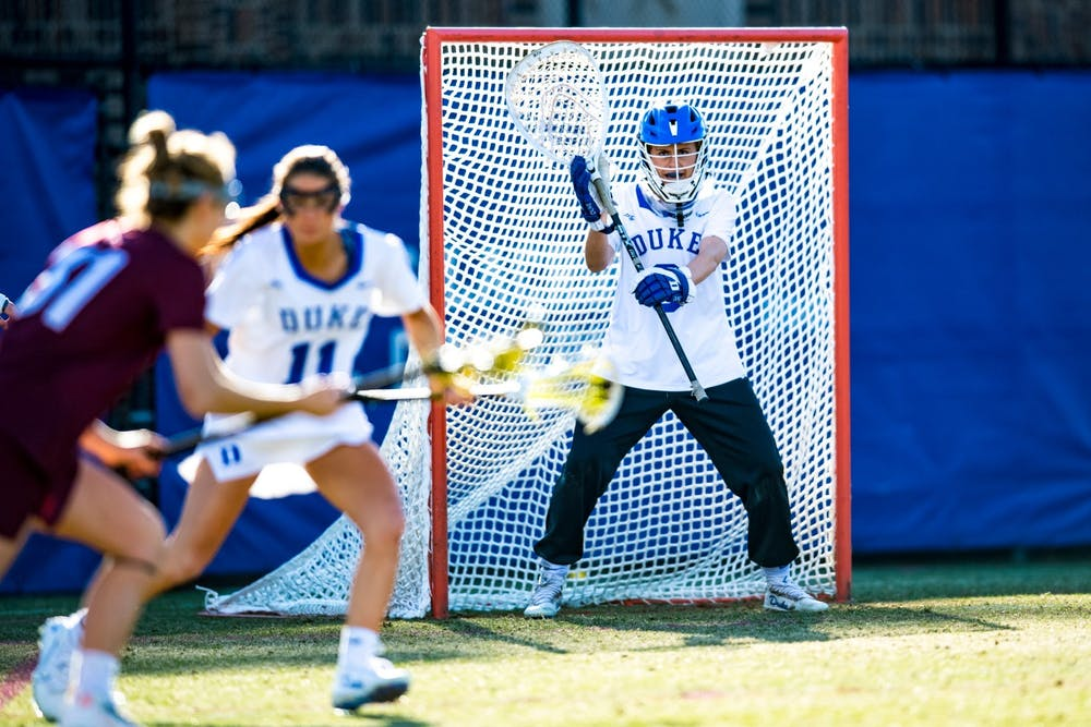 <p>Junior goalie Sophia LeRose's 18 saves over the weekend helped Duke women's lacrosse advance to the Eilte Eight of the NCAA Championship for the first time since 2015.&nbsp;</p>