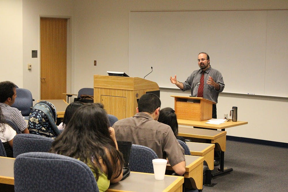 Omar Safi, professor of Islamic studies at the University of North Carolina at Chapel Hill, speaks as a part of Islamic Awareness Week.