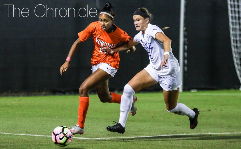 <p>Sophomore Chelsea Burns got taken down in the box during one of Duke's several scoring chances early in the second half, setting up Gibbons' penalty kick.</p>