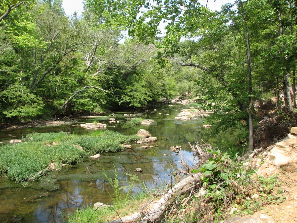 <p>The Eno River State Park in Durham features 30 miles of hiking trails and a shallow, winding stream.</p>