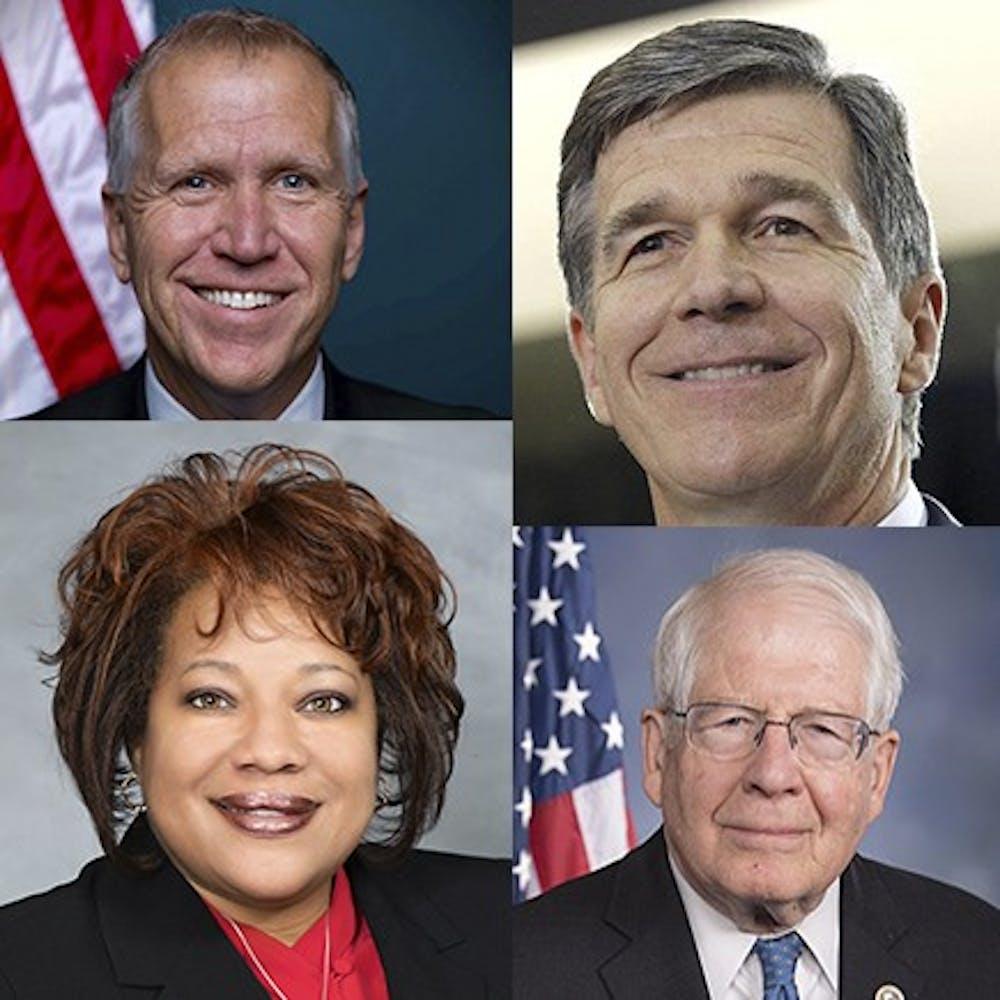 <p>Clockwise from top left: Sen. Thom Tillis, Gov. Roy Cooper, Rep. David Price and state Sen. Erica Smith.</p>