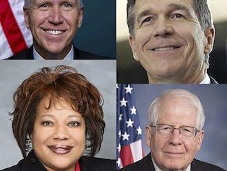 Clockwise from top left: Sen. Thom Tillis, Gov. Roy Cooper, Rep. David Price and state Sen. Erica Smith.