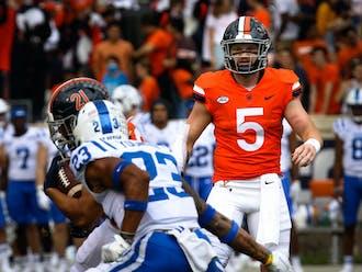 Virginia quarterback Brennan Armstrong had his way against the Blue Devils.