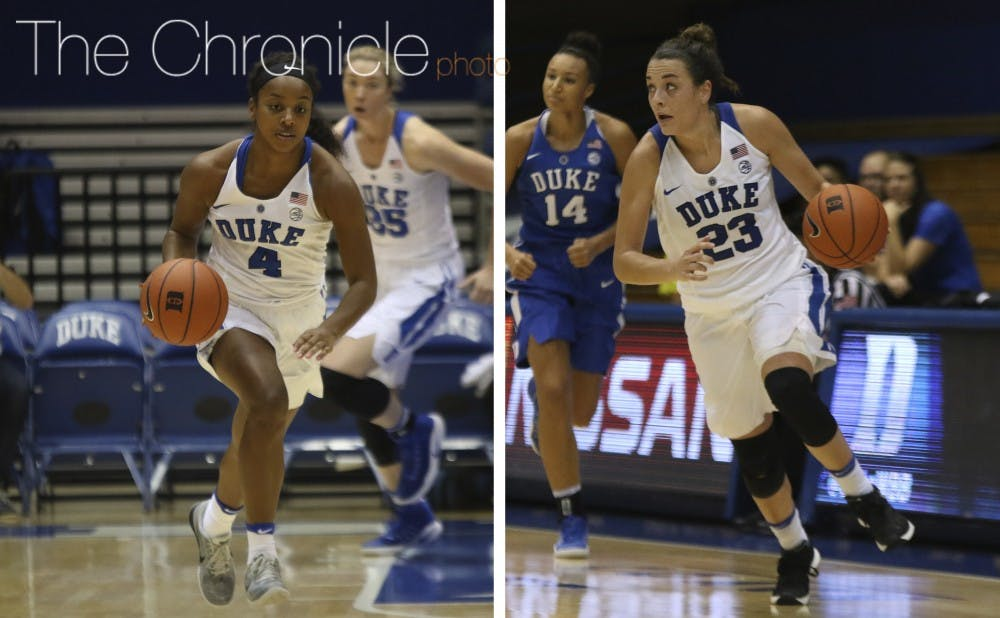 <p>Maryland transfer Lexie Brown and All-ACC guard Rebecca Greenwell have a chance to be one of the nation's top backcourt tandems this season.&nbsp;</p>