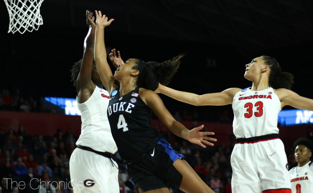 <p>Lexie Brown will join former Blue Devil point guard Jasmine Thomas in the Connecticut Sun's backcourt.</p>