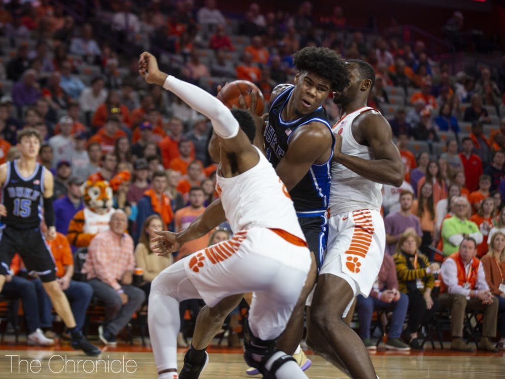 <p>Vernon Carey Jr. picked up four fouls against Clemson, forcing him to play more cautiously than usual.</p>