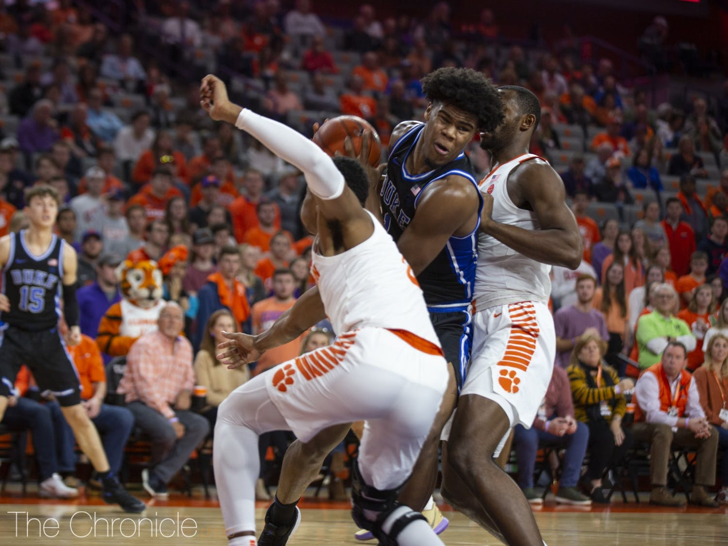 Vernon Carey Jr. picked up four fouls against Clemson, forcing him to play more cautiously than usual.