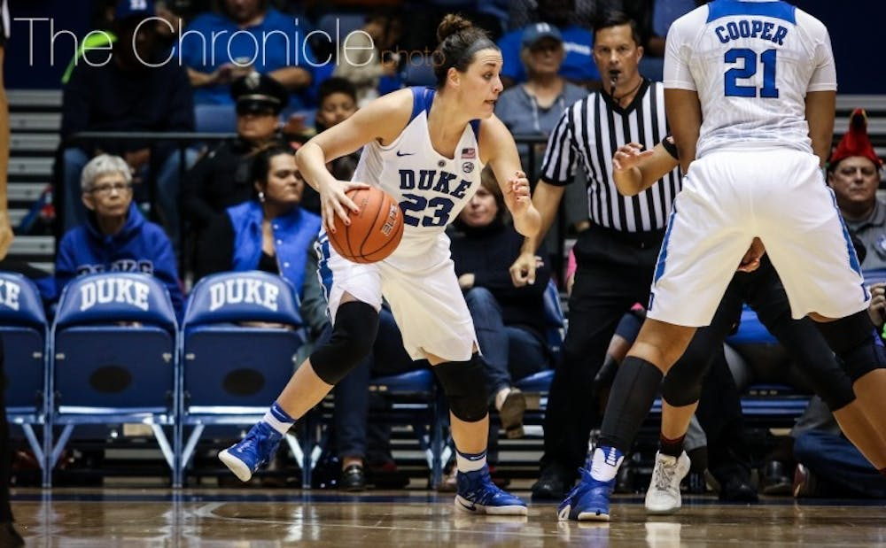 <p>Rebecca Greenwell and Lexie Brown had 18 points apiece as the Blue Devils shook off the rust following almost two weeks without a game.&nbsp;</p>