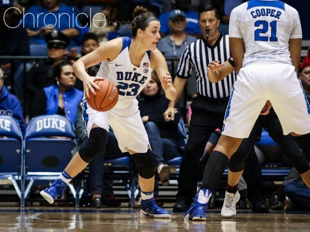 Rebecca Greenwell and Lexie Brown had 18 points apiece as the Blue Devils shook off the rust following almost two weeks without a game.