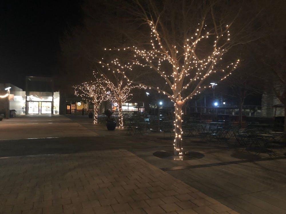 The string lights brighten up the dark BC plaza.