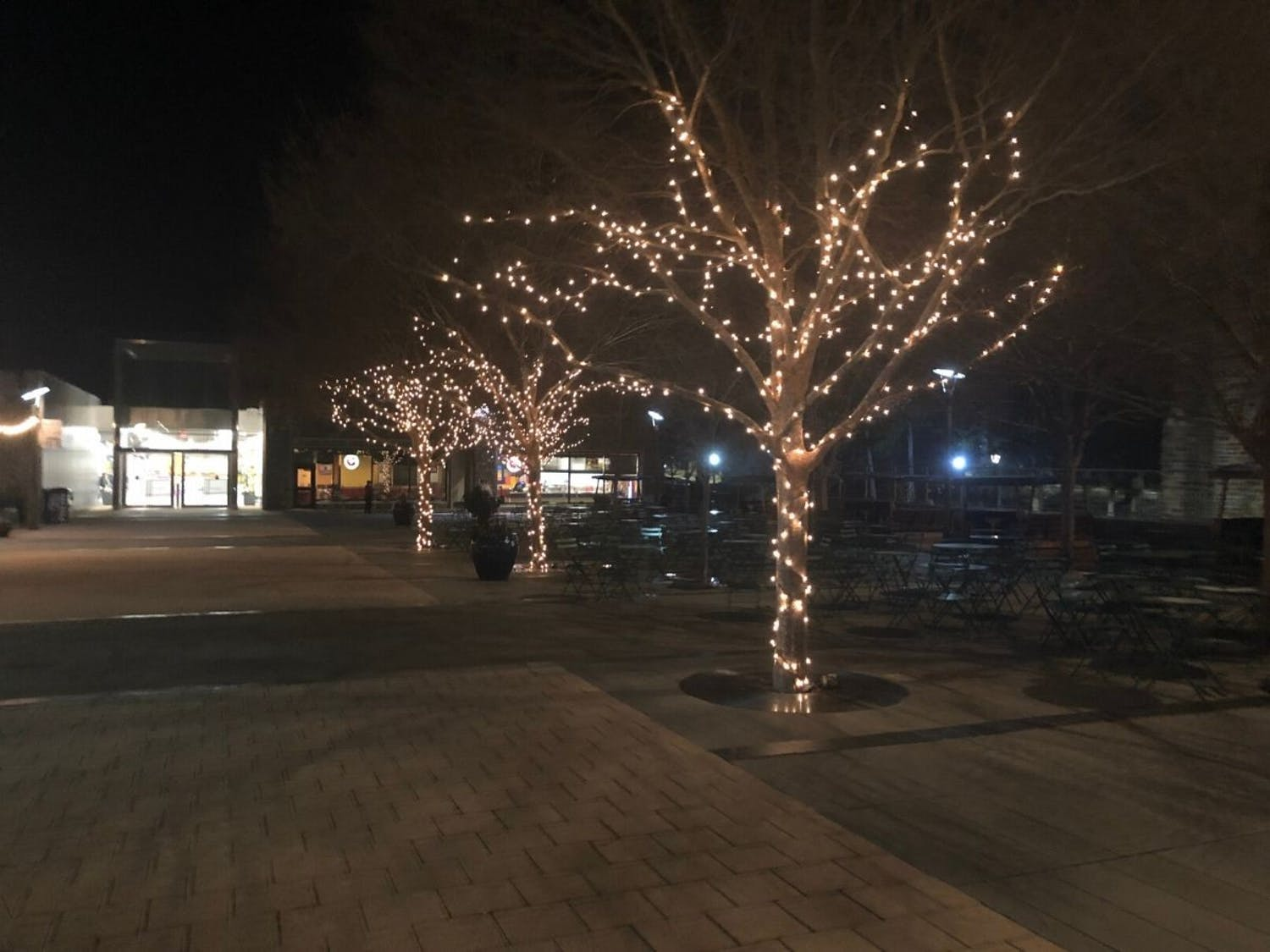 The string lights brighten up the dark BC plaza.