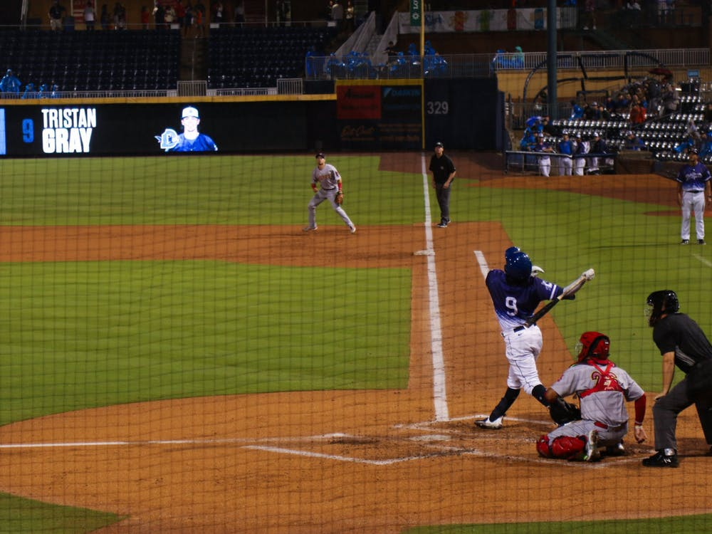 <p>Tristan Gray admired his swing as the Durham Bulls took on the Memphis Redbirds at home Aug. 6.&nbsp;</p>