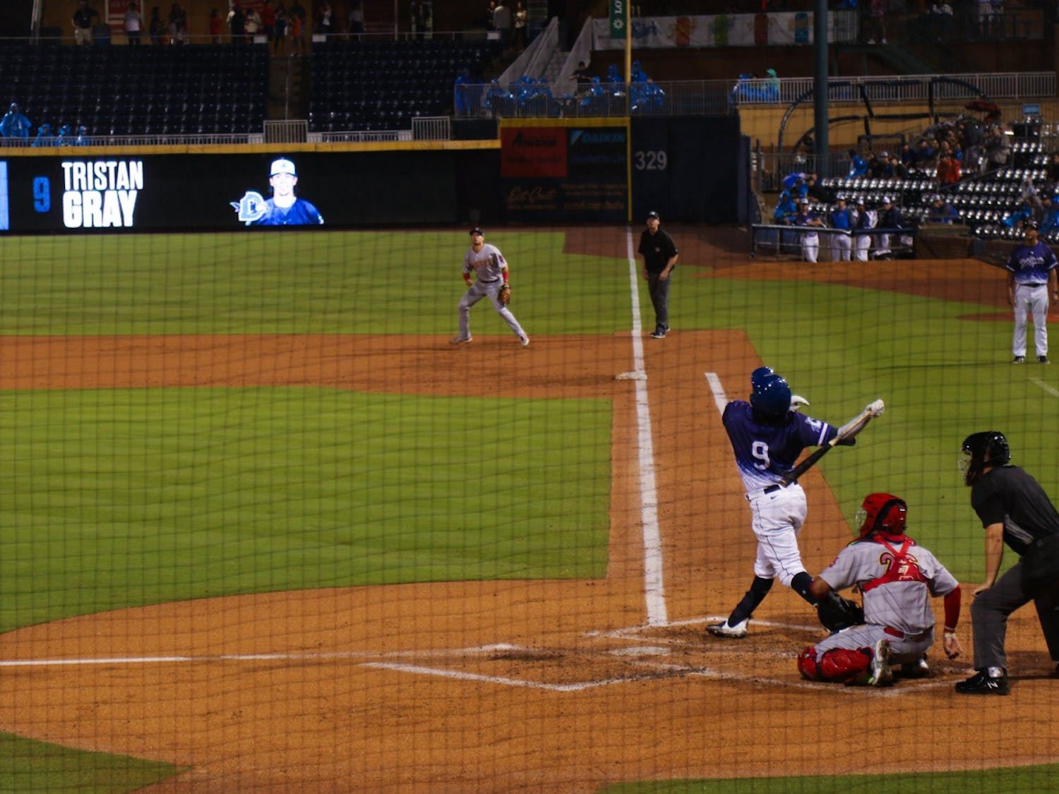 Tristan Gray admired his swing as the Durham Bulls took on the Memphis Redbirds at home Aug. 6.