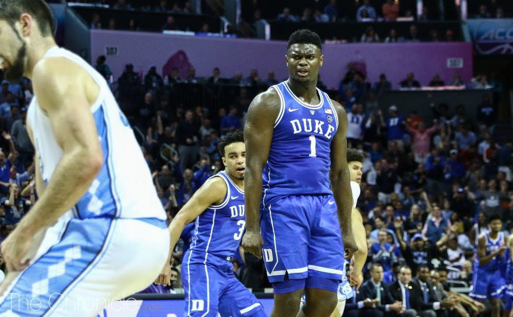 <p>Zion Williamson was a man amongst boys against the Tar Heels, as he scored 31 points and brought down 11 boards.</p>