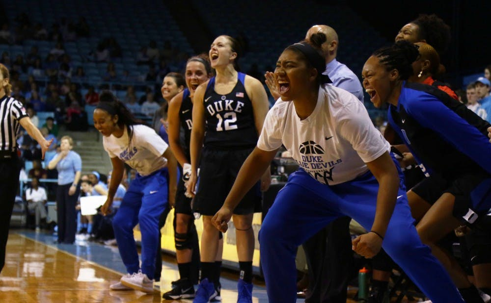 <p>The Blue Devil bench celebrates during Sunday's 36-point victory,&nbsp;Duke's largest-ever in Chapel Hill.</p>
