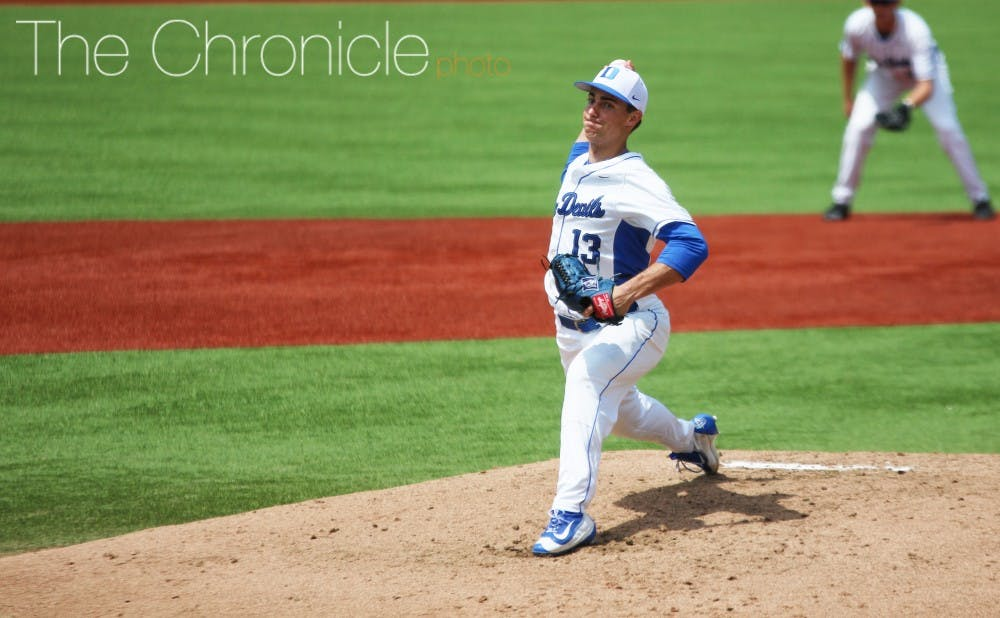<p>Ryan Day surrendered just two runs in a career-high eight innings Saturday, but the Blue Devil offense did not give him enough support for a win.</p>