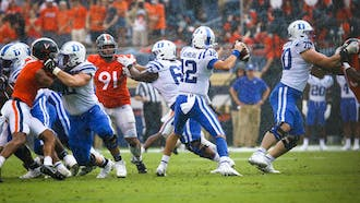 Quarterback Gunnar Holmberg and the offense could not get anything going Saturday, as the Blue Devils' were blanked 48-0.