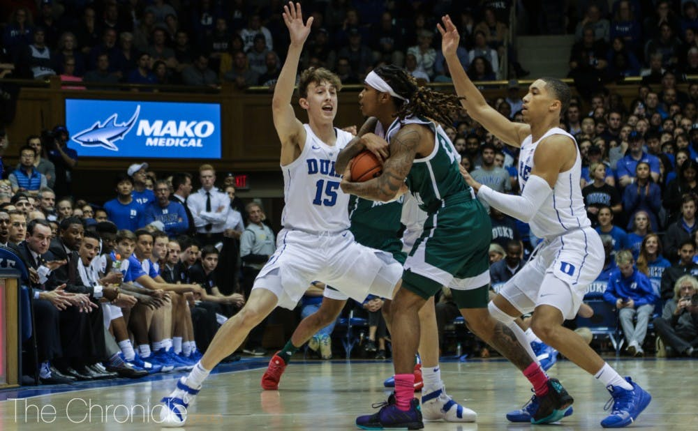 <p>Sophomore Jordan Goldwire brought head coach Mike Krzyzewski to his feet with his defensive effort against the Eagles.</p>