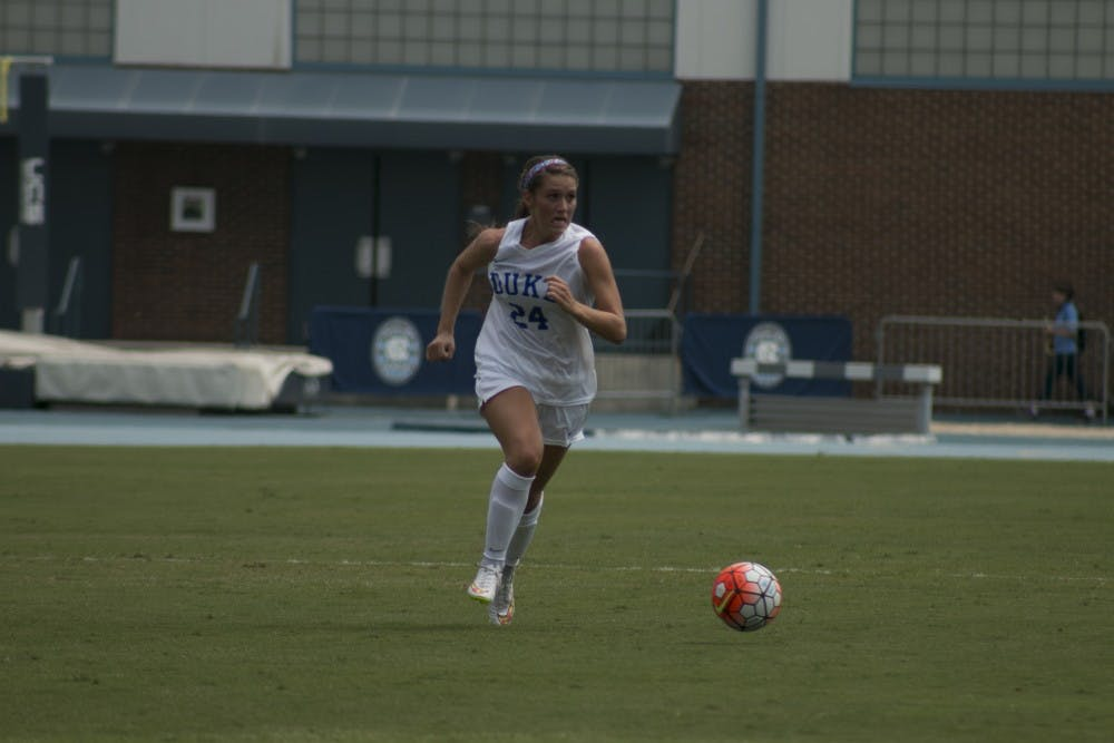 <p>Sophomore defender Morgan Reid and the Blue Devil back line kept the Nittany Lions at bay through overtime Friday night to preserve a scoreless draw on the road.</p>