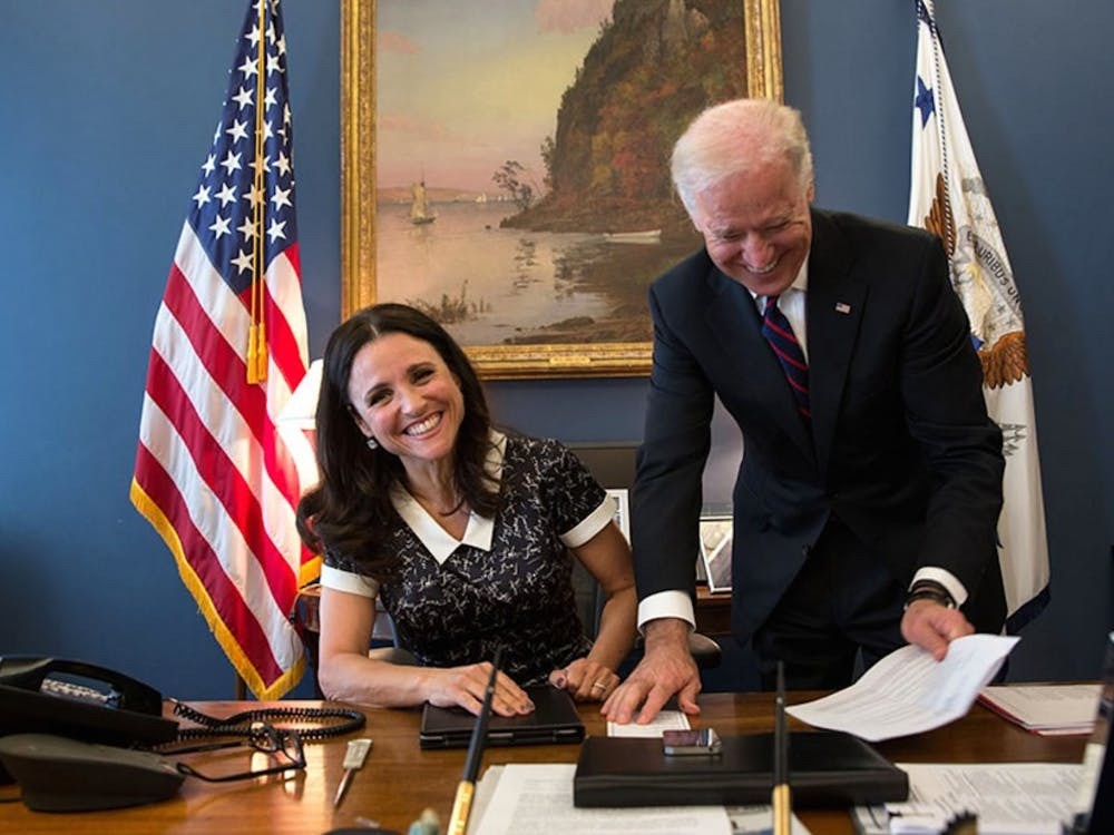"Julia Louis Dreyfus, star of the HBO series ""Veep,"" with Vice President Joe Biden."
