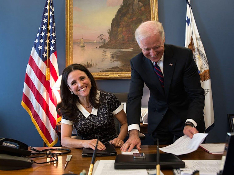 "Julia Louis Dreyfus, star of the HBO series ""Veep,"" with Vice President Joe Biden."