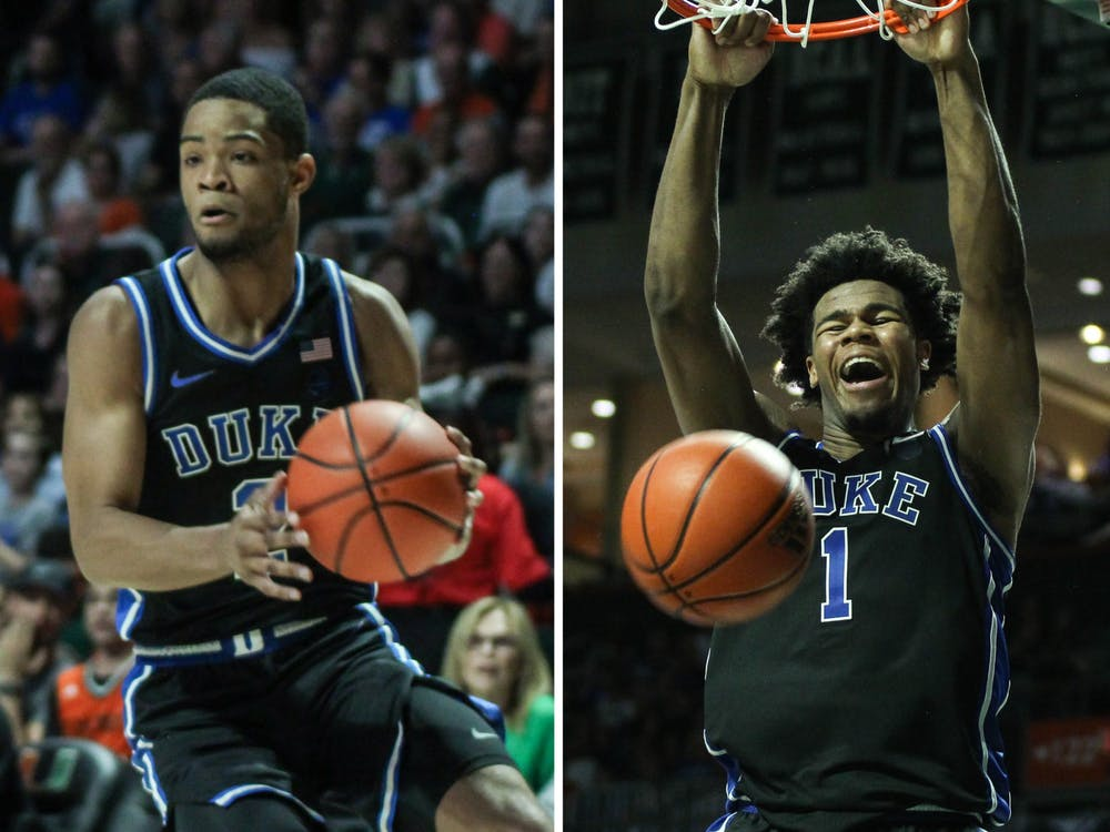 <p>Cassius Stanley (left) and Vernon Carey Jr. (right) each scored 20-plus points against Miami.</p>