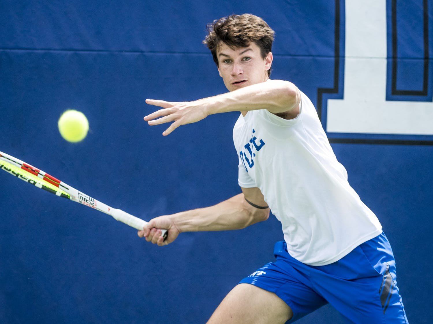 Sophomore Garrett Johns faced off against Henri Squire, who is the No. 13 college singles player in the nation.