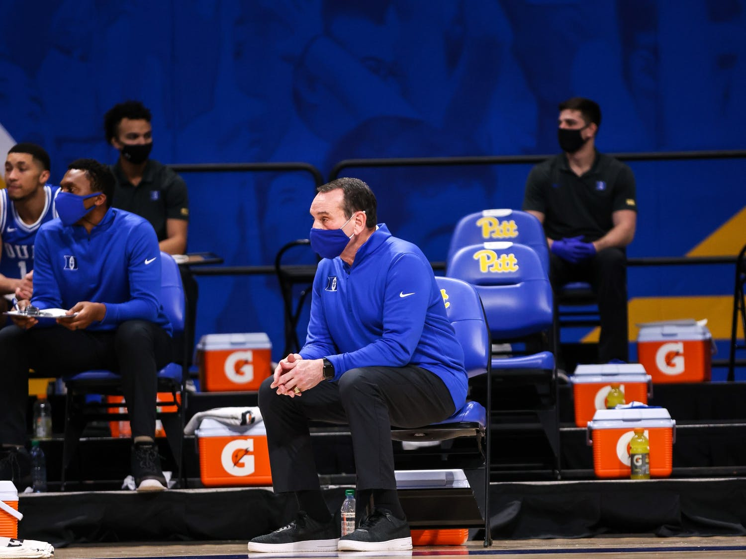 Coach K watches on during Duke's loss at Pittsburgh Tuesday, the team's second loss in a row.