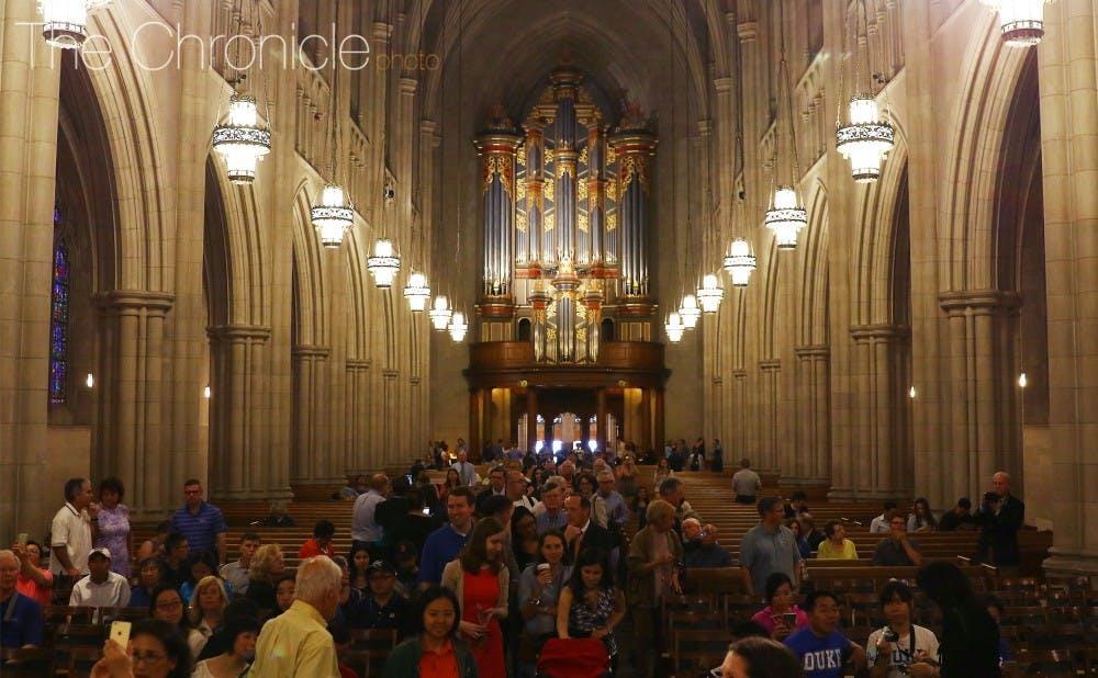 <p>The Duke community celebrated the reopening of the Duke Chapel Wednesday morning.&nbsp;</p>