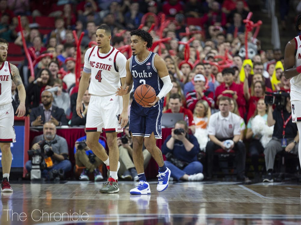 Tre Jones reacts to a travel call during the first half against NC State.