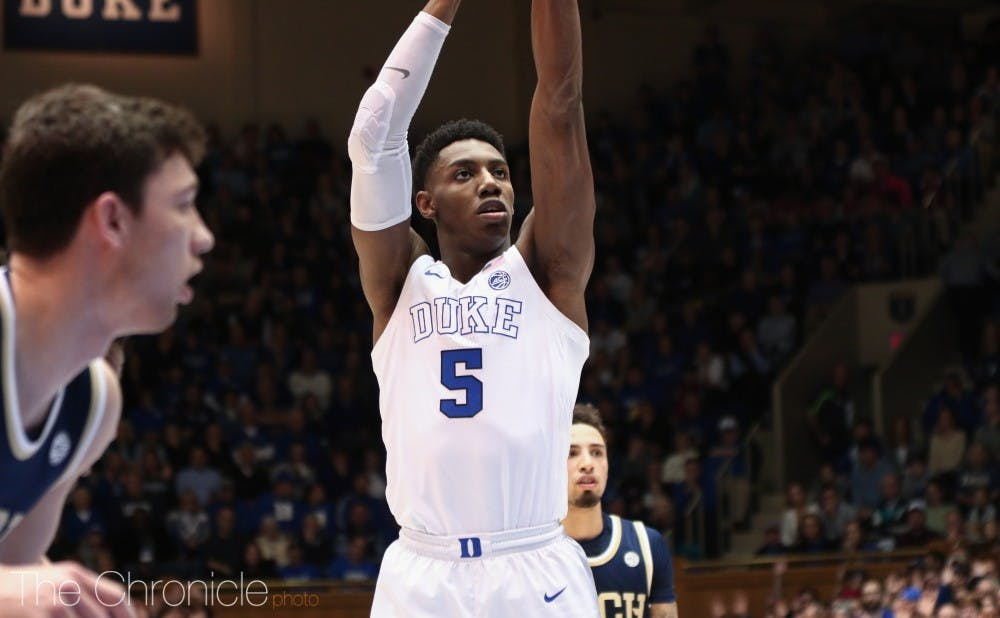 <p>R.J. Barrett and the Blue Devils remain the top-ranked team in the ACC.</p>
